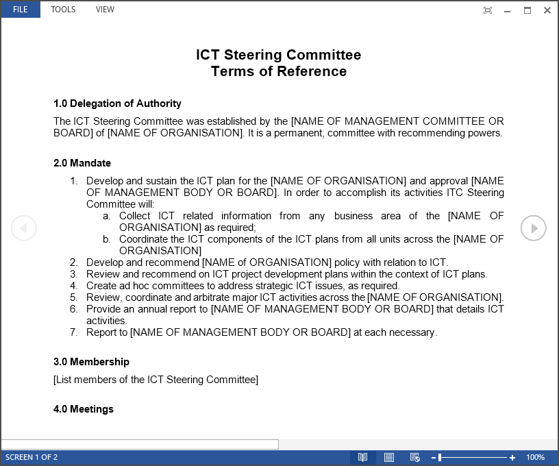 IT Steering Committee template available to download